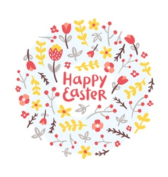 Easter floral wreath vector image vector image