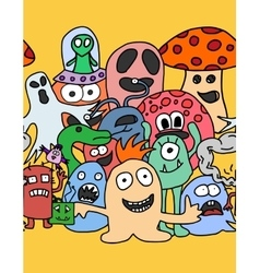 Funny monsters seamless pattern vector image vector image