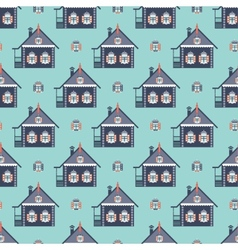 russian coutry house seamless pattern izba vector image vector image