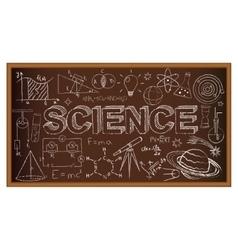 School board doodle with science symbols vector image
