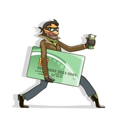 Thief steals credit card and money vector image vector image