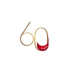 60 years anniversary celebration elegant number vector