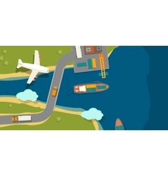 A cargo port in flat style vector