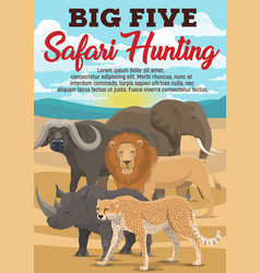 african safari hunting sport animals vector image