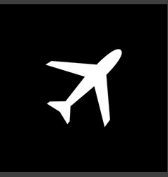airplane flat icon on black background black style vector image