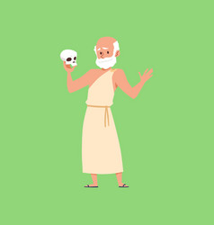 Ancient greek philosopher holding human skull vector