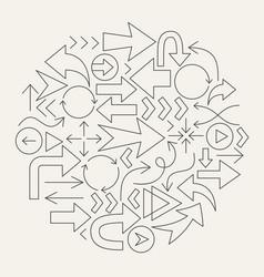 arrow line icons circle vector image