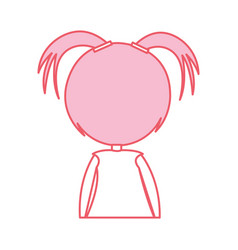Back cute little girl character vector