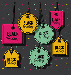 black friday with set of discount offer tags in vector image