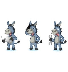 Blue Donkey Mascot with laptop vector image