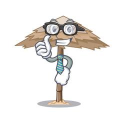 Businessman character tropical sand beach shelter vector
