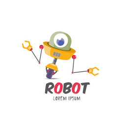 Cartoon cute flat robot icon vector