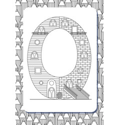 cartoon letter q drawn in the shape of house vector image