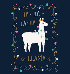 christmas or winter holidays card with llama and vector image