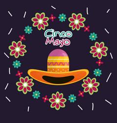 cinco de mayo celebration card with mexican hat vector image