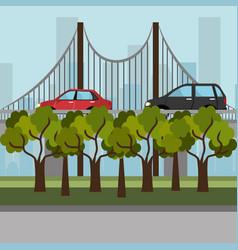 cityscape with bridge scene vector image