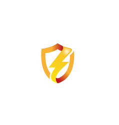 creative shiny shield bolt thunder logo vector image