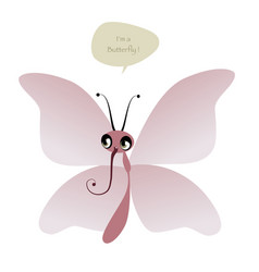 cute butterfly and speech balloon isolated on vector image