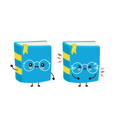 Cute happy smiling and sad cry book vector