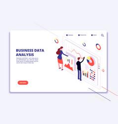 Data analysis people work on business finance vector
