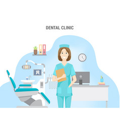 dental clinic conceptual banner flat design vector image