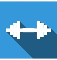 Dumbbell icon with long shadow vector