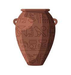 egyptian clay vase symbol egypt flat style vector image