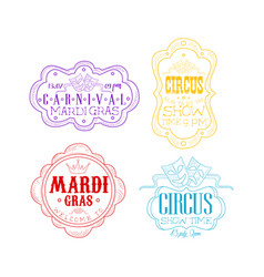emblems for circus and mardi gras carnival vector image