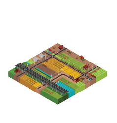 farm rural buildings isometric vector image