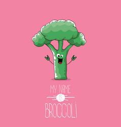 Funny cartoon cute green smiling broccoli vector