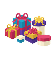 gift boxes different shapes and colors set vector image