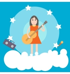 Girl with guitar flat vector image