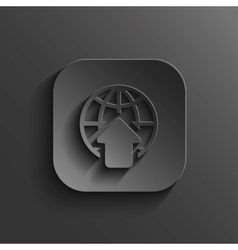 Globe icon - black app button vector