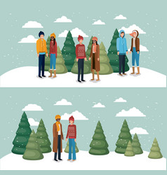 group of women in snowscape with winter clothes vector image