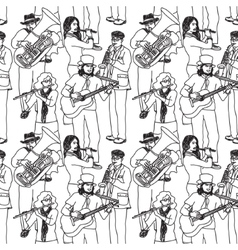 Group street musicians seamless monochrome pattern vector
