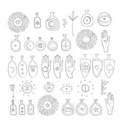 Hand drawn mystic esoteric symbols set spiritual vector