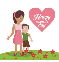 Happy mothers day card - mom with son garden vector