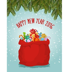 Happy new year Santa big bag full of presents vector image