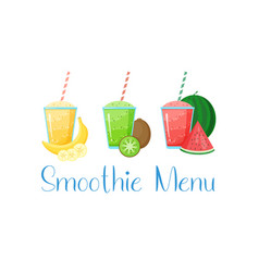 Healthy diet raw fruit smoothie drink collection vector