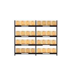 high pile cardboard boxes on warehouse shelves vector image