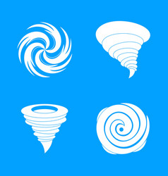 Hurricane storm damage icons set simple style vector