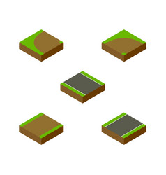 Isometric way set of turning sand footpath vector
