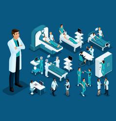 Isometry of medicine doctor large surgeon vector