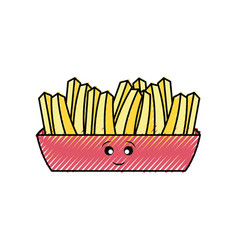 kawaii french fries vector image