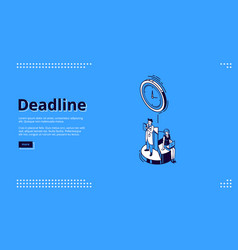 landing page deadline with clock and people vector image