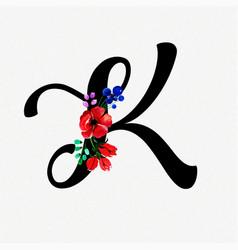 Letter k watercolor floral background vector