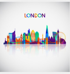 london skyline silhouette in colorful geometric vector image