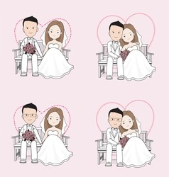 Married cute wedding cartoon vector