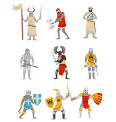 Medieval armored knight set european warrior vector