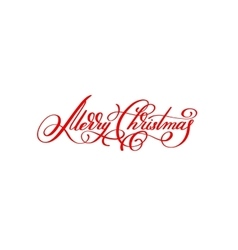 merry christmas red handwritten lettering vector image